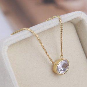 Henri Bendel Single Diamond Oval Zircon Necklace